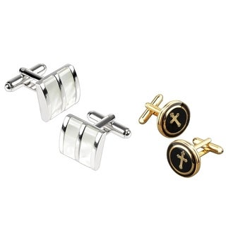Zodaca White Jade Camber/ Goldtone Black Copper Round with a Cross Cuff link Set