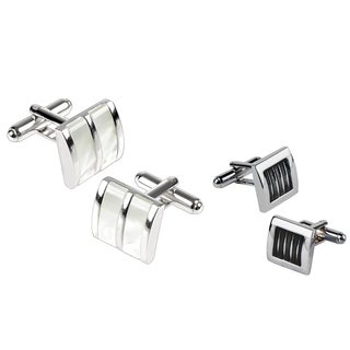 Zodaca Silver White Jade/ Black Silver Square Cufflink Set (Pack of 2)