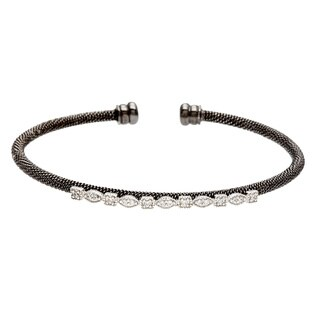 Roberto Martinez Black Rhodium Silver Cubic Zirconia Cuff Bracelet