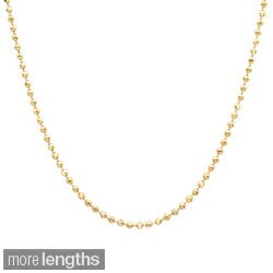 Sterling Essentials 14k Gold over Silver 1.5 mm Diamond-Cut Bead Chain (16-30 Inch)