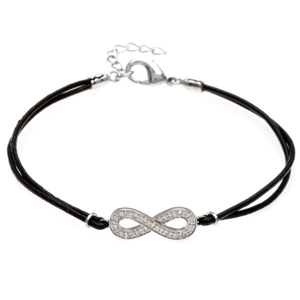 Sterling Silver and Leather Cord CZ Infinity Bracelet