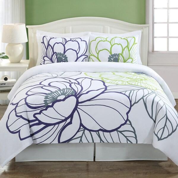 Echelon Home Floral Sketch Cotton 3-piece Duvet Cover Set