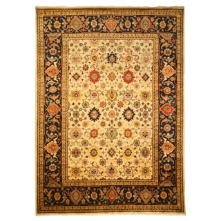 Hand-knotted Wool Ivory Traditional Oriental Ivory Super Mahal Rug (9' x 12')