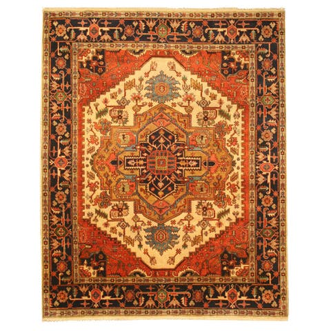 Hand-knotted Wool Ivory Traditional Oriental Ivory Serapi Rug (9' x 12') - Multi - 9' x 12'