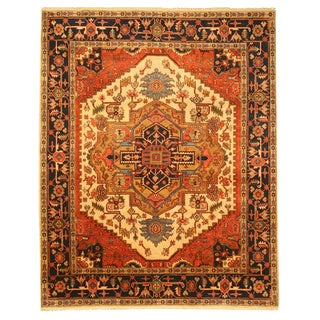 Hand-knotted Wool Ivory Traditional Oriental Ivory Serapi Rug (9' x 12')