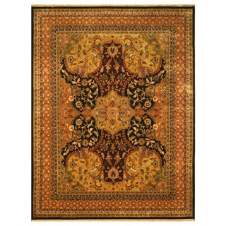 Hand-knotted New Zealand Wool Black Transitional Oriental Polonaise Rug (8' x 10')