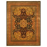 Hand-knotted New Zealand Wool Black Transitional Oriental Polonaise Rug - 8' x 10'