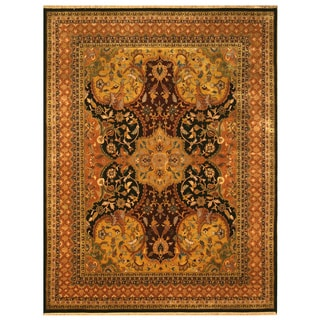 EORC Hand Knotted Wool Black Polonaise Rug (6' x 9')
