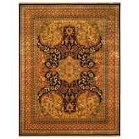 Hand-knotted New Zealand Wool Black Transitional Oriental Polonaise Rug (6' x 9') - 6' x 9'