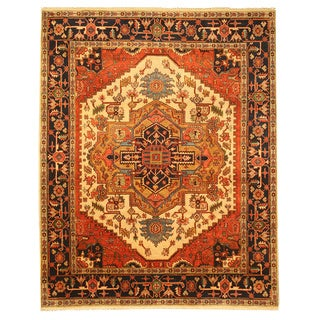 Hand-knotted Wool Ivory Traditional Oriental Ivory Serapi Rug - 8' x 10'