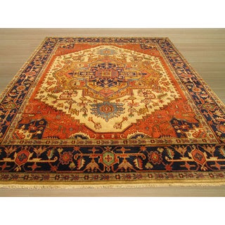 EORC Hand Knotted Wool Ivory Ivory Serapi Rug (10' x 14')