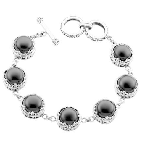 Handmade Sterling Silver 'Cawi' Black Onyx Toggle Bracelet (Bali)