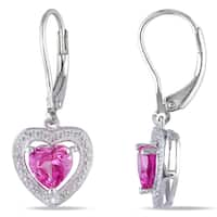 Miadora Sterling Silver Created Pink Sapphire and Diamond Heart Earrings