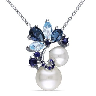 Miadora Sterling Silver Pearl, London Sky Topaz, and Sapphire Drop Pendant Necklace (7 - 9 mm)
