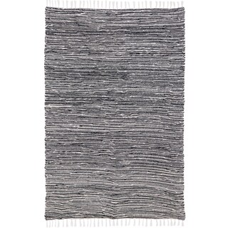 Black Reversible Chenille Flat Weave Area Rug (4' x 6')