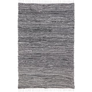 Black Reversible Chenille Flat Weave Area Rug (4' x 6') - 4' x 6'