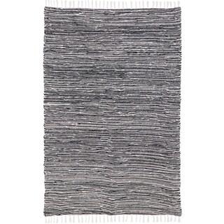 Black Reversible Chenille Flat Weave Area Rug - 4' x 6'