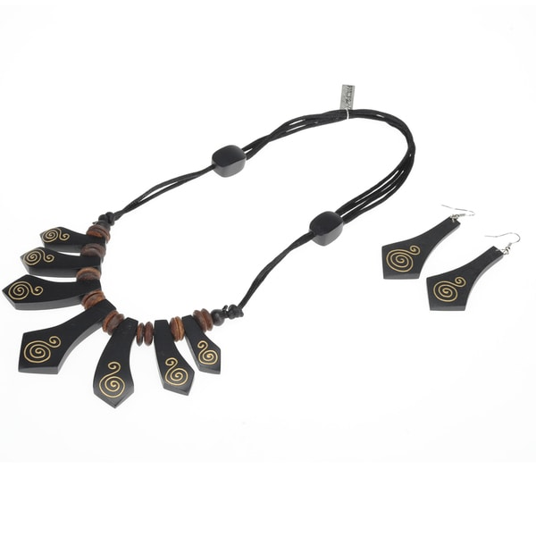Eco-Friendly Wood Black and Gold Tribal Necklace and Earring Set (India)