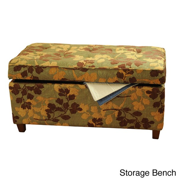 HomePop Chenille Leaf Brown and Tan Bench
