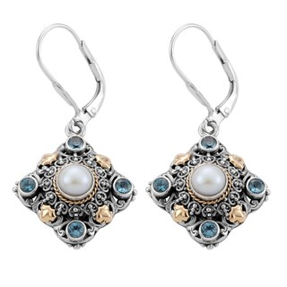 18k Gold and Silver Blue Topaz and Freshwater Pearl 'Cawi' Earrings (Indonesia) https://ak1.ostkcdn.com/images/products/8297118/8297118/18k-Gold-and-Silver-Blue-Topaz-and-Freshwater-Pearl-Cawi-Earrings-Indonesia-P15615233.jpg?_ostk_perf_=percv&impolicy=medium