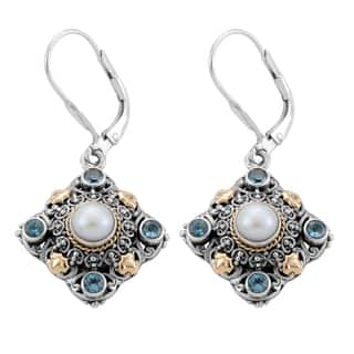 18k Gold and Silver Blue Topaz and Freshwater Pearl 'Cawi' Earrings (Indonesia)|https://ak1.ostkcdn.com/images/products/8297118/8297118/18k-Gold-and-Silver-Blue-Topaz-and-Freshwater-Pearl-Cawi-Earrings-Indonesia-P15615233.jpg?impolicy=medium