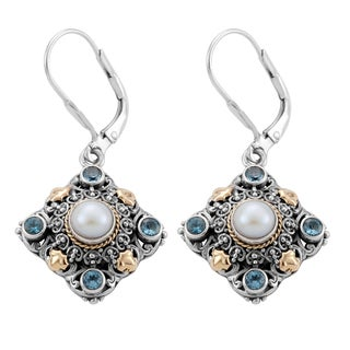 Handmade Gold and Silver Blue Topaz and Pearl Earrings (Indonesia)