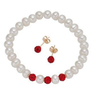Pearlyta 14k Gold Children's Freshwater Pearl and Red Crystal Jewelry Set (4-5 mm) with Gift Box