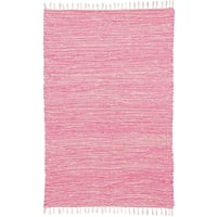 Pink Reversible Chenille Flat Weave Rug - 5' x 8'