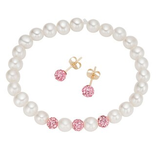 Pearlyta 14k Gold Children's Freshwater Pearl and Pink Crystal Stretch Bracelet and Stud Earring Set with Gift Box (4-5 mm)