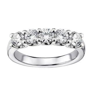 14k White Gold 1ct TDW Diamond 5-stone Wedding Band