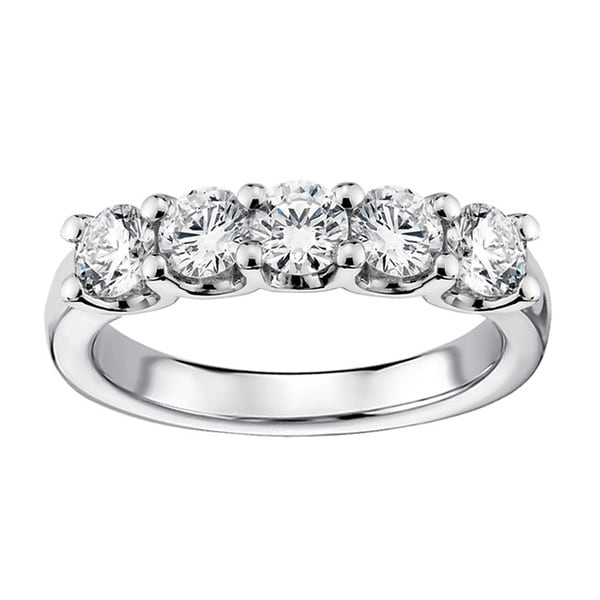14k White Gold 1ct TDW Diamond 5 Stone Wedding Band