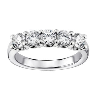 14k White Gold 1ct TDW Diamond 5-stone Wedding Band