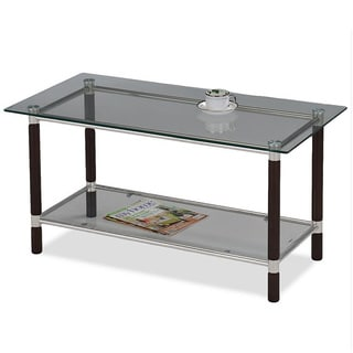 Coffee and Brushed Nickel Finish Glass Top Coffee Table