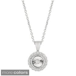 14k White/Yellow/Rose Gold Diamond Accent Miracle Set Solitaire Necklace