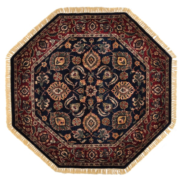 Hand-knotted Khorasan Black Wool Rug (4' Octagonal)