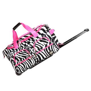 4f1d1458675b Rockland Deluxe Pink Zebra 22-inch Carry-on Rolling Duffel Bag