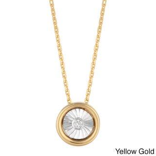 14k White Gold Diamond Accent Solitaire Necklace