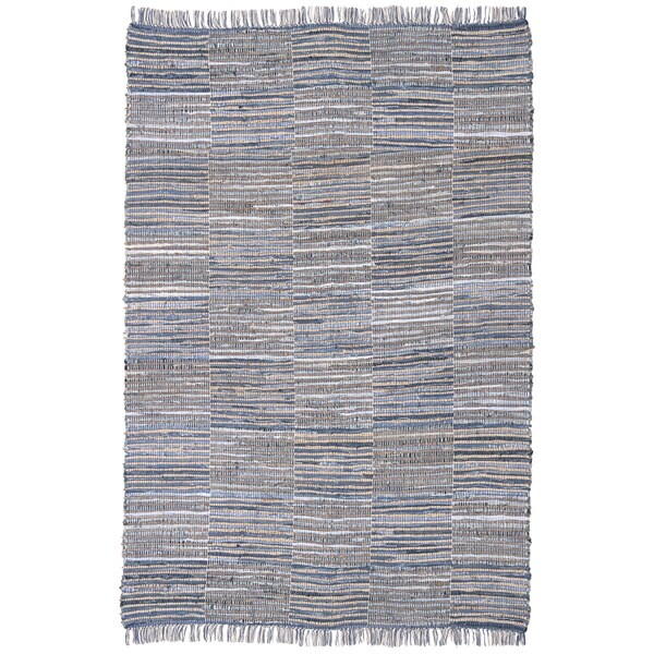 Blue Jeans Checkered Hand Woven Denim/ Hemp Rug (8'x10)