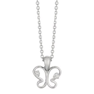 14k White Gold Diamond Accent Butterfly Necklace