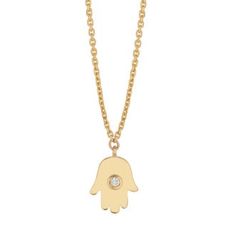 14k Yellow Gold Diamond Accent Chamseh Hand Necklace