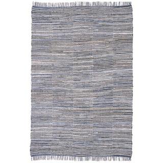 Blue Jeans Checkered Hand Woven Denim and Hemp Rug (9'x12')