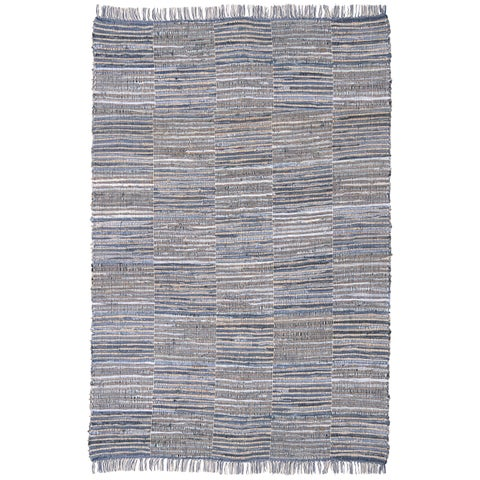 Blue Jeans Checkered Hand Woven Denim and Hemp Rug - 9'x12'