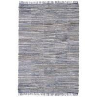 Blue Jeans Checkered Hand Woven Denim and Hemp Rug (9'x12') - 9' x 12'