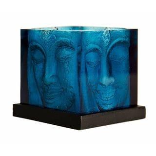 Blue Square Buddha Head Candle Holder