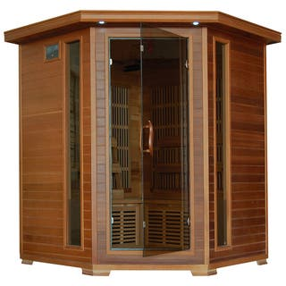 4-person Cedar Corner Infrared Sauna with 10 Carbon Heaters|https://ak1.ostkcdn.com/images/products/8297234/8297234/4-Person-Cedar-Corner-Carbon-Infrared-Sauna-P15615341.jpg?impolicy=medium