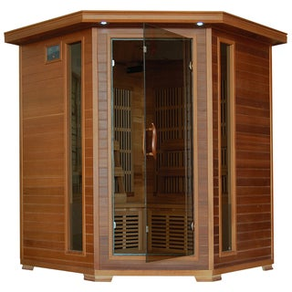 4-person Cedar Corner Infrared Sauna with 10 Carbon Heaters