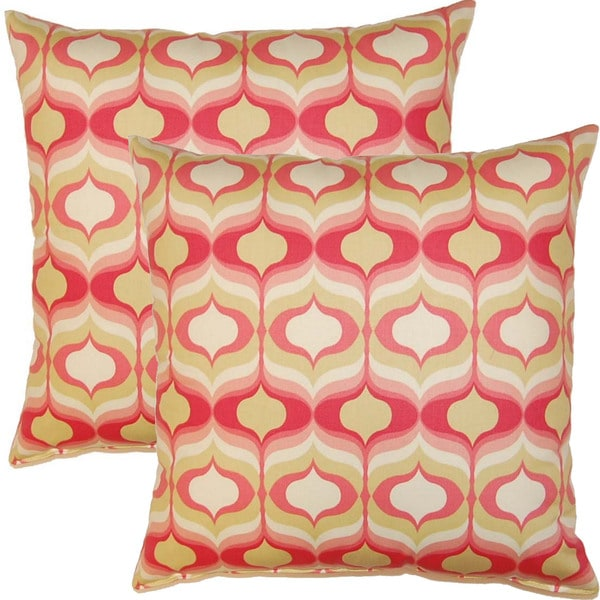 Hour Glass Blossom 17-inch Throw Pillows (Set of 2)