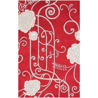 ZnZ Rugs Gallery Hand Made Red New Zealand Blended Wool Rug (5' x 8')