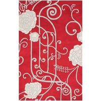 ZnZ Rugs Gallery Hand Made Red New Zealand Blended Wool Rug - 5' x 8'