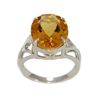 Sterling Silver Oval-cut Citrine Ring